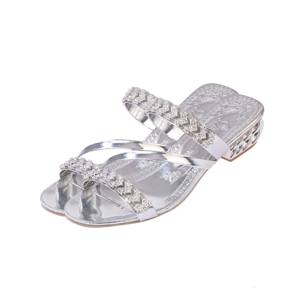 e56e501145 Sandali con diamanti scintillanti con fibbie per donna, estate con ...