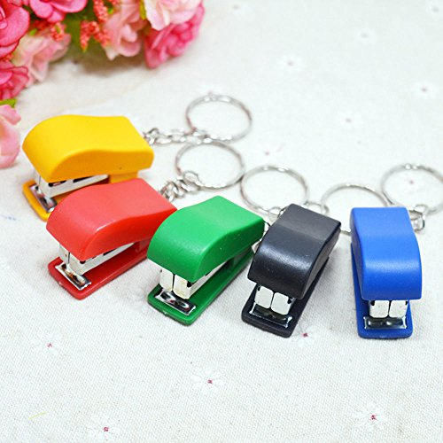 OLIVE US-2Pcs Fun Mini Stapler Key Chain Ring Keychain School Office Supplies (Lifes Essentials Plus Multivitamin)
