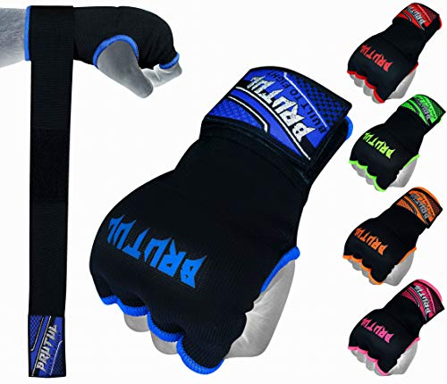 Brutul Padded Inner Gel Gloves Training Gel Elastic Hand Wraps for Boxing Gloves Quick Wraps Men & Women Kickboxing Muay Thai MMA Bandages Wrist Wrap Protector Handwraps (Pair) (Blue, L)