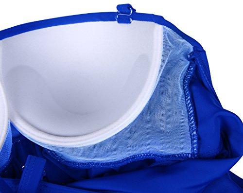 EasyMy Mujeres de Color S¨®lido Ruched Tankini Top Bikini con Tri¨¢ngulo Briefs Bottom Azul