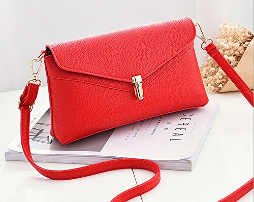 Female Rrock Casual Bag Diagonal Clutch Red Bag Bag Bag Gray Wallet Shoulder Ladies Female xvRwx