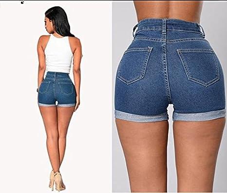 68923d47bd734 FuweiEncore Pantalones de Mezclilla Pitillo con Cremallera de Cintura Alta  Jeans de Mujer Pantalones Vaqueros Hipster Jeans Pitillo Pantalones Cortos  de ...