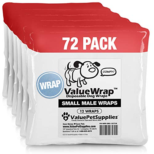 ValueWrap Disposable Male Dog Diapers, 2-Tab Small, 72 Count - Absorbent Male Wraps for Incontinence, Excitable Urination & Travel | Fur-Friendly Fasteners | Leak Protection | Wetness Indicator