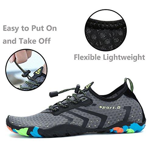 Plage Pour Water Surfer Gris Chaussures Lacets Yoga Shoes De Piscine D'eau Aquatiques Homme Femme Katliu 4x1IwXnq04