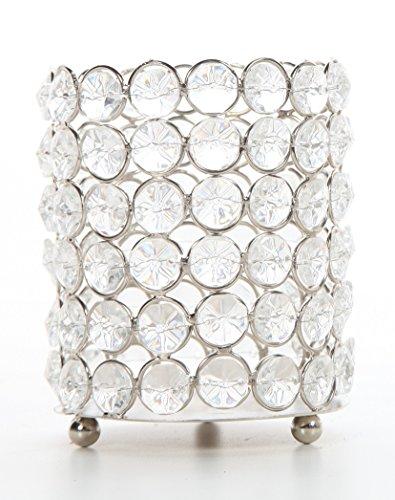 Candlelight Gems - Hosley Silver Finish Sparkle Gem Candle Holder 4.5