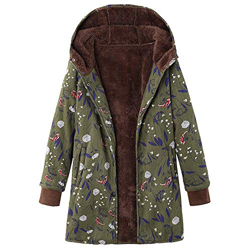 Womens Plus Size Coats Winter Warm Outwear Floral Print Hooded Pockets Vintage Oversize Coats S-5XL