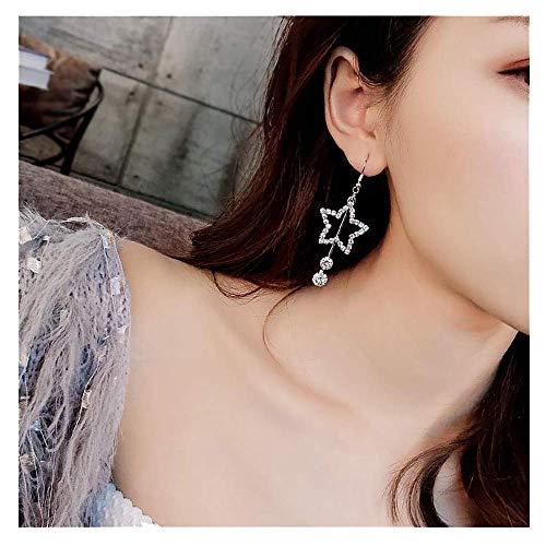 (A&C Fashion Rhinestone Love Heart-shaped Tassel Pendant Earrings for Women. Unique Stud Earrings Jewelry for Girl. (Silver))