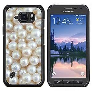 Blanco Madre de brillo brillante de Bling- Metal de aluminio y de plástico duro Caja del teléfono - Negro - Samsung Galaxy S6 active / SM-G890 (NOT S6)