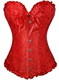 Senchanting Women's Satin Lace up Overbust Corset Bustier Plus Size + G-string (Red, 4XL)