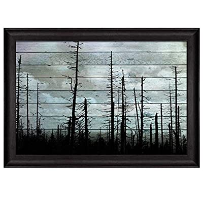 Silhouette of Trees on a Cloudy Day Over Wooden Panels Nature Framed Art, With a Professional Touch, Amazing Technique