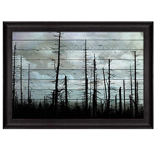 Silhouette of Trees on a Cloudy Day Over Wooden Panels Nature Framed Art