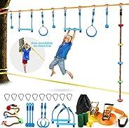 Odoland 50ft Slackline Ninja line Monkey Bar Kit for Obstacle Course Setting, Slackline Kit with Arm Trainer L
