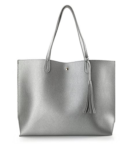 Minimalist Clean Cut Pebbled Faux Leather Tote Womens Shoulder Handbag (Silver)