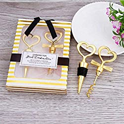 12 pairs Gold Heart shaped Wine and Beverage Bottle Stopper Bottle Opener Best Gift For Wedding Favor (Gold Heart shap 12 pairs)