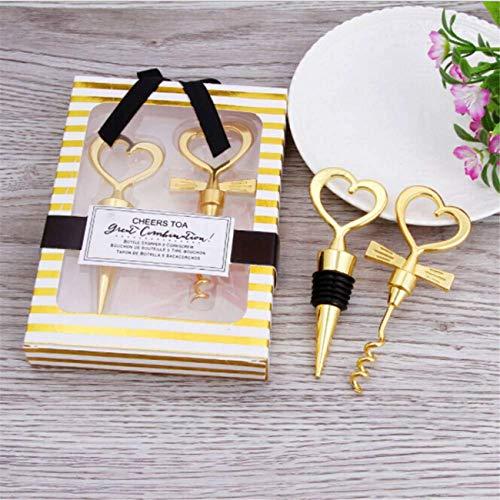 12 pairs Gold Heart shaped Wine and Beverage Bottle Stopper Bottle Opener Best Gift For Wedding Favor (Gold Heart shap 12 pairs)
