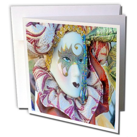 3dRose image of vintage mardi gras mask - Greeting Cards, 6 x 6 inches, set of 6 (gc_174588_1) (Wedding Gras Mardi Invitations)