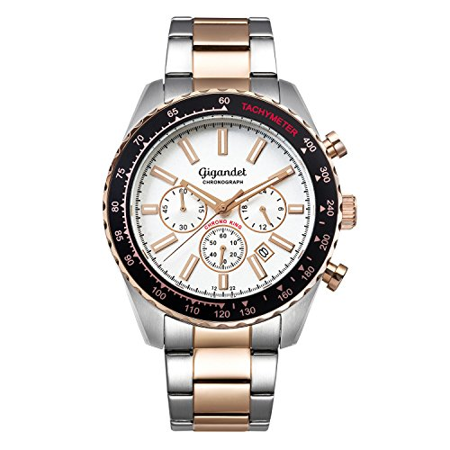 Gigandet Men's Quartz Watch Chrono King Chronograph Analogue Silver Rosegold G28-009