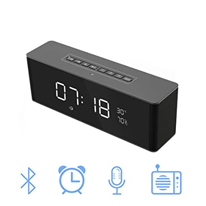 Altavoz Inalámbrico De Bluetooth, USB Portátil Con Despertador Reloj Despertador Altavoz De Tarjeta De Inicio