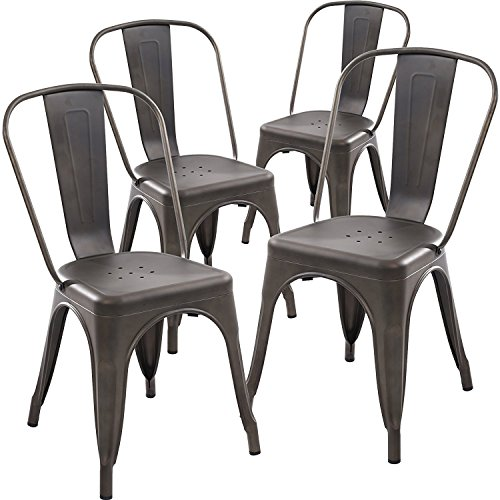 Poly and Bark Tolix Style Bistro A Dining Side Chair (Set of 4), Bronze (Dining Chair Sets)
