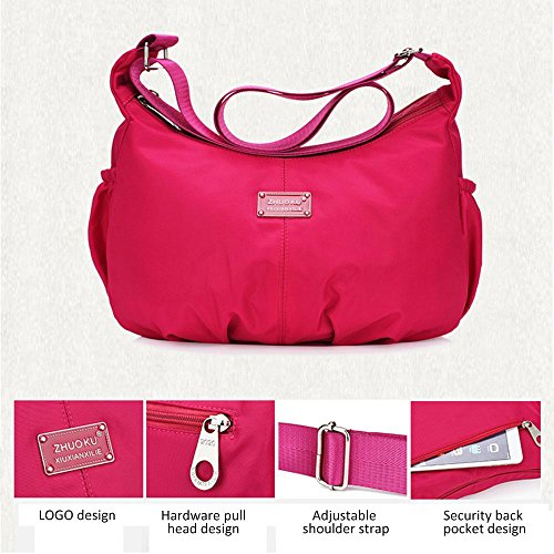 Purse for Waterproof and Kobwa Purple Theft with Gorgeous Lightweight Organize Handbag Travel Messenger Anti Bag Bag Crossbody Pocket Women Nylon Shoulder for Ladies Casual XqZddfw