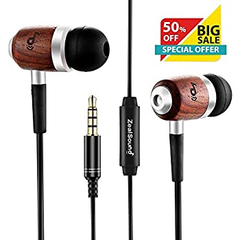 Genuine Wood Earphones Headphones, ZealSound HIFI Earbuds with Built-in Microphone, In-ear Headphone with Bass & Stereo Sound, Noise-isolating for iPhone Samsung and Android Smartphones, with Clip