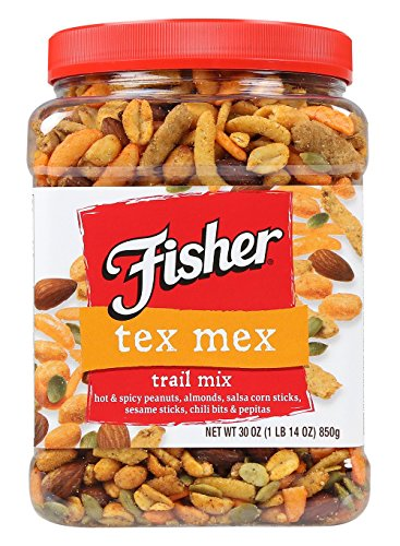 FISHER Snack, Tex Mex Trail Mix, Hot & Spicy Peanuts, Almonds, Salsa Corn Sticks, Sesame Sticks, Chili Bits & Pepitas, 30 ()