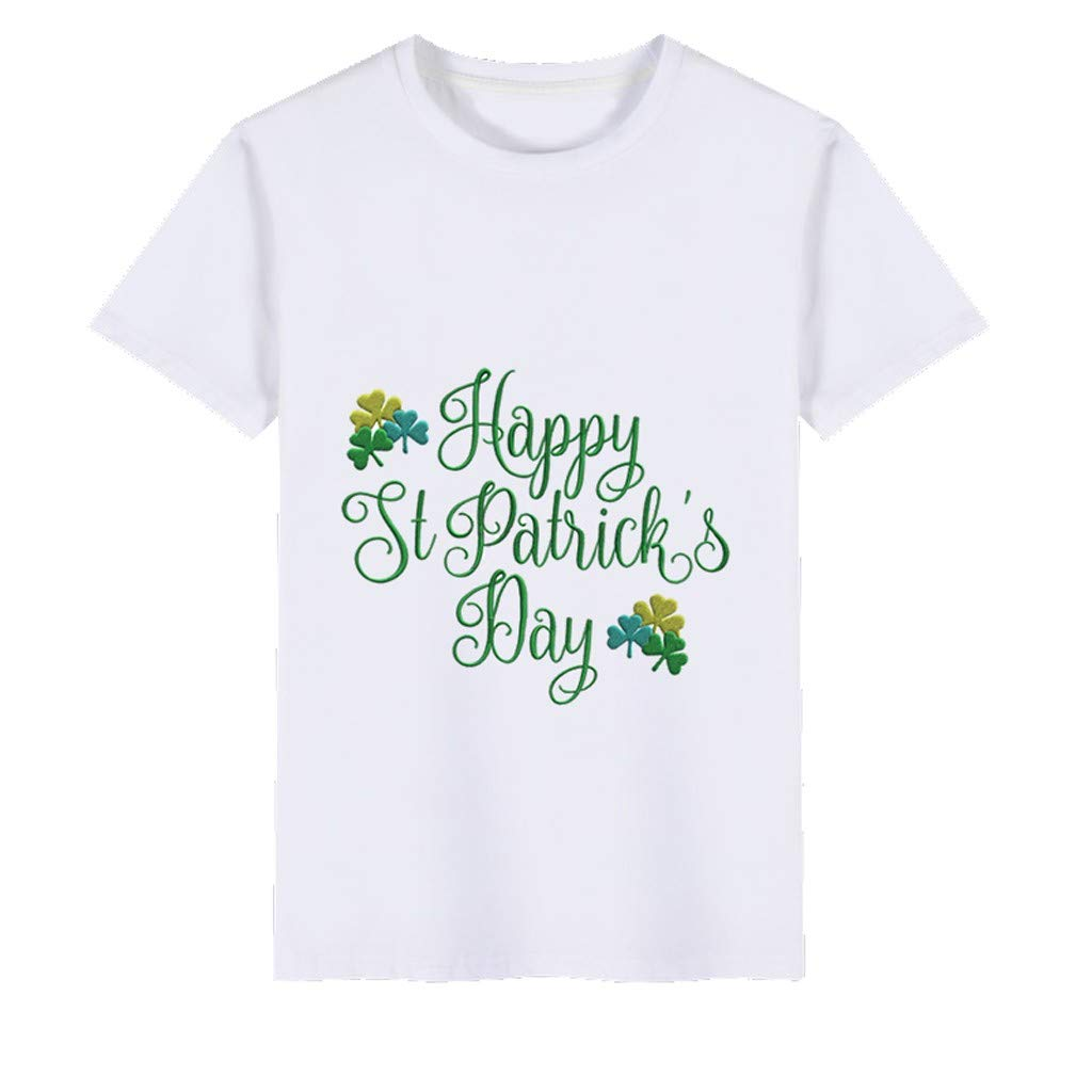 Boys T-Shirts,Clover Print Kids Wild Tops,St. Patrick's Day Memorial Clothing Boy Tee 2~6 Years Old(A,120) by Wesracia (Image #2)