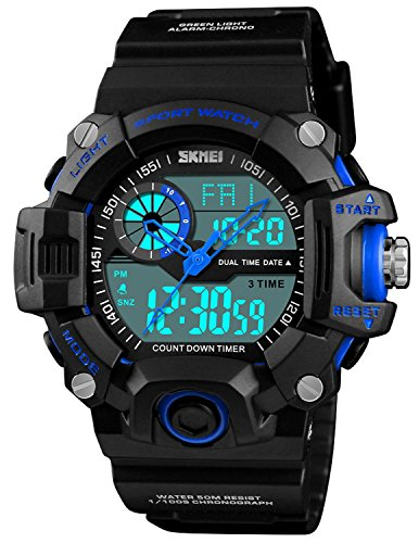 Men Military Watch Alarm Waterproof 3 Time Chronograph LED Quartz Digital S Shock Sport Watch (Blue) Alarm Chrono Watch Instructions