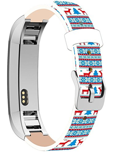 Fitbit Alta HR Bands Leather Replacement, Fitbit Alta /Fitbit Alta HR Strap Silver Connectors + Colorful Christmas Tree Reindeer Theme Pattern Gift