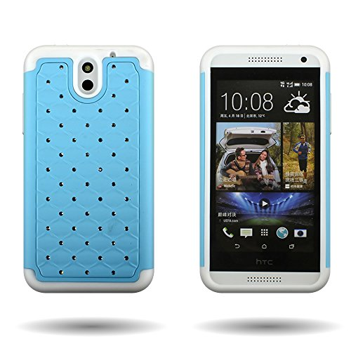 CoverON Hybrid Dual Layer Diamond Case for HTC Desire 610 - Sky Blue Hard White Soft Silicone