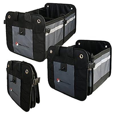 Higher Gear Car Trunk Organizer for SUV, Auto, Truck, Home - Collapsible Car Storage Organizer - 2 Interior Compartments, 3 Exterior Pockets, Rigid Folding Bottom, No Slip Feet: Automotive