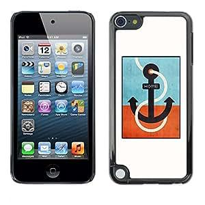 TopCaseStore / la caja del caucho duro de la cubierta de protección de la piel - Teal Captain White Minimalist Boat - Apple iPod Touch 5