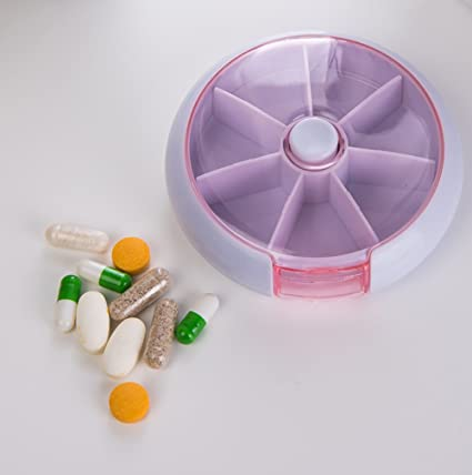 Saiko - Pastillero organizador semanal 7 días redondo medicinas Vitaminas pastillas contenedor dispensador de almacenamiento mediplanner