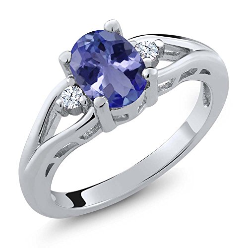 Gem Stone King 1.22 Ct Oval Blue Tanzanite 925 Sterling Silver 3 Stone Ring (Size - 3 Ring Tanzanite Stone