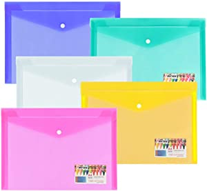 Umriox 10 Pack Plastic Envelopes Poly Envelopes, Clear Document Folders US Letter/A4 Size File Envelopes with Snap Closure & Label Pocket for School Home Work Office Organization