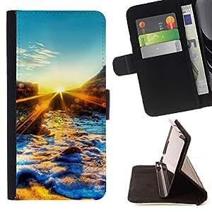 For Sony Xperia Z1 L39 Case , Sunset Beautiful Nature 67- la tarjeta de Crédito Slots PU Funda de cuero Monedero caso cubierta de piel