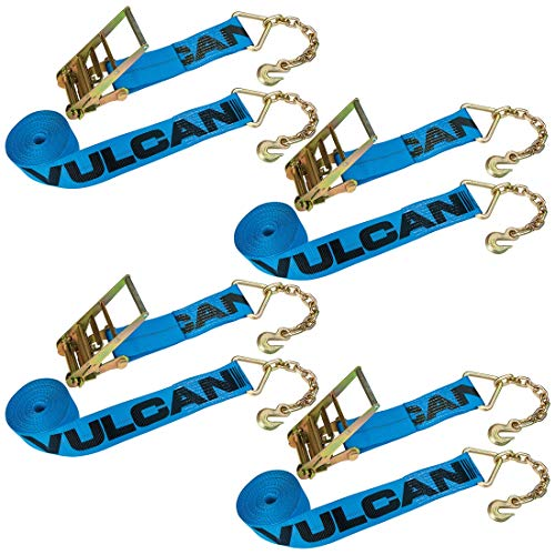 Vulcan Extra Heavy Duty Ratchet Strap 4X30 W/Chain Anchors- 4 Pack