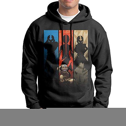 [SLCG Men's Last Animated Series Airbender Hooded Sweatshirt Black Size XL] (Aang Costume Cartoon)