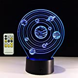 TRADE Three Dimensional Visual Acrylic Panel Art Sculpture 7 Color Gradient Solar System Planet LED 15 Key Remote Control Touch Switch Night Light Whit USB Cable Or 3 AA Battery Powered