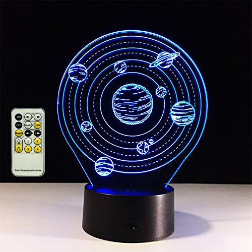 TRADE Three Dimensional Visual Acrylic Panel Art Sculpture 7 Color Gradient Solar System Planet LED 15 Key Remote Control Touch Switch Night Light Whit USB Cable Or 3 AA Battery Powered ()