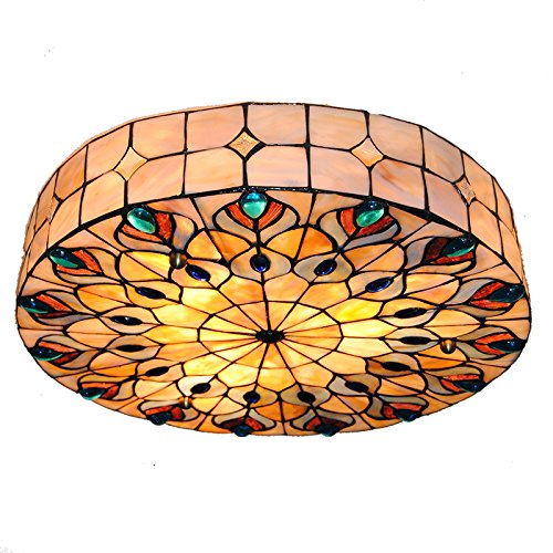Cheerhuzz 18 Inch Baroque Retro 3-Light Retro Tiffany Style Ceiling Light Stained Shell Peacock Big Ceiling Lamp Vintage Flush Mount Light Fixtures For Bedroom CL259