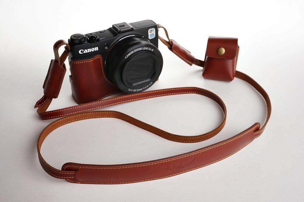 キャノン G1X Mark II (G1X M2)用本革カメラケース ブラウン B07S3QJBTS カメラケース&ストラップTP1881&バッテリーケース FreeSize