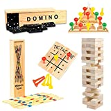 Wooden Game Set by GamieTM - 5 Fun Games for Kids & Family - Includes Tic-Tac-Toe, Tower, Domino, Triangle, Pick-up Stick - Compact Size - Best Gift for Boy or Girl 5+.
