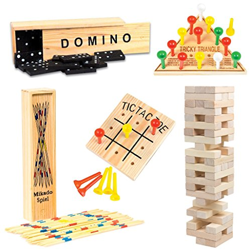 Wooden Game Set by GamieTM - 5 Fun Games for Kids & Family - Includes Tic-Tac-Toe, Tower, Domino, Triangle, Pick-up Stick - Compact Size - Best Gift for Boy or Girl 5+. (Onyx Eyes Pin)