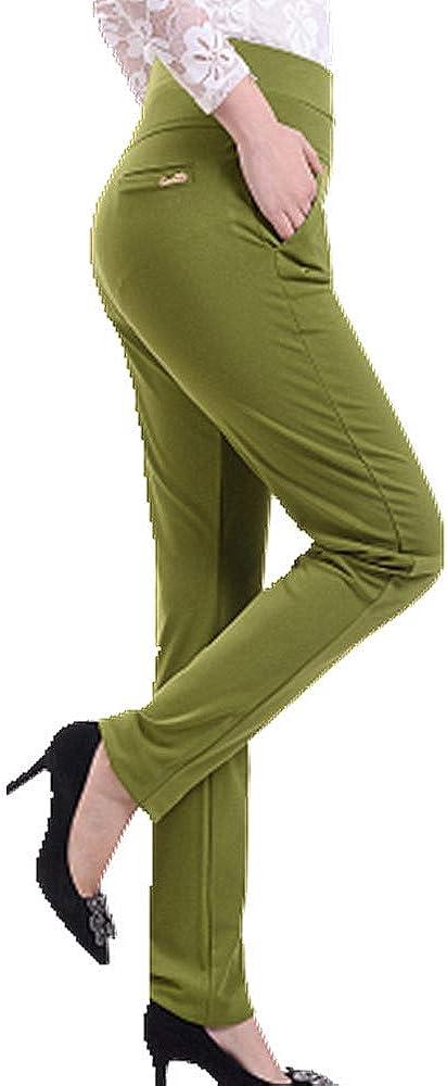 Las mujeres Pantalones de Color de Cintura Alta Elástico Delgado Casual Pantalones Más el Tamaño de mediana edad mamá pantalones de la ropa de las Mujeres