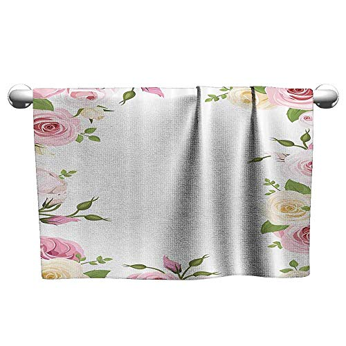(Roses Decorations Collection Beach Activity Bath Towel Roses Lisianthus Flowers Birthday Greetings Summertime Happy Theme W31 x L63 Green Pink Ivory)