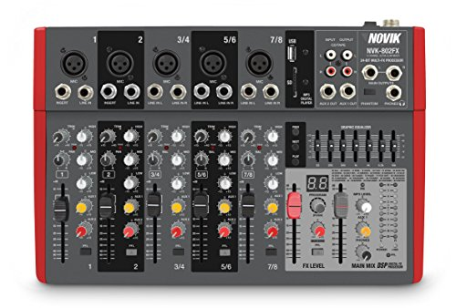 Efx Mixer - NOVIK NEO MIXER NVK 802FX 8 Channel Ultra-Slim 5 channels with pre-amplifiers of Mic and Phantom Power (+48v) 3 channels Stereo