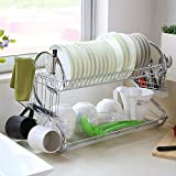 S-shaped 2-Tier Multi-function Stainless Steel Dish Drying Rack,Cup Drainer Strainer Cultery Holder with 1pc Plastic Tray