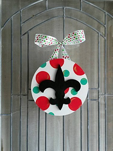 new orleans fleur de lis christmas cajun southern door hanger 10 circle wood sign