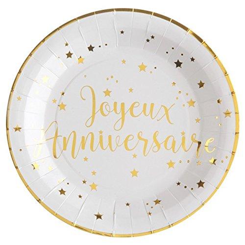 Chal - 10 platos cumpleaños feliz blanco y oro: Amazon.es: Hogar